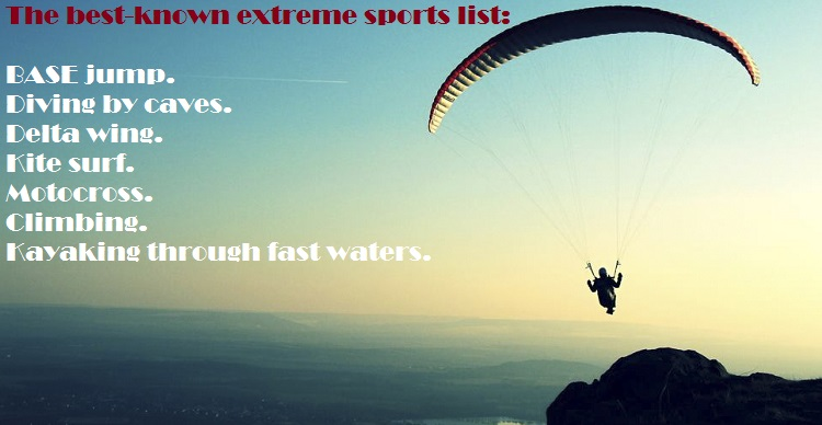 Extreme sports list and Risks of practicing extreme sports